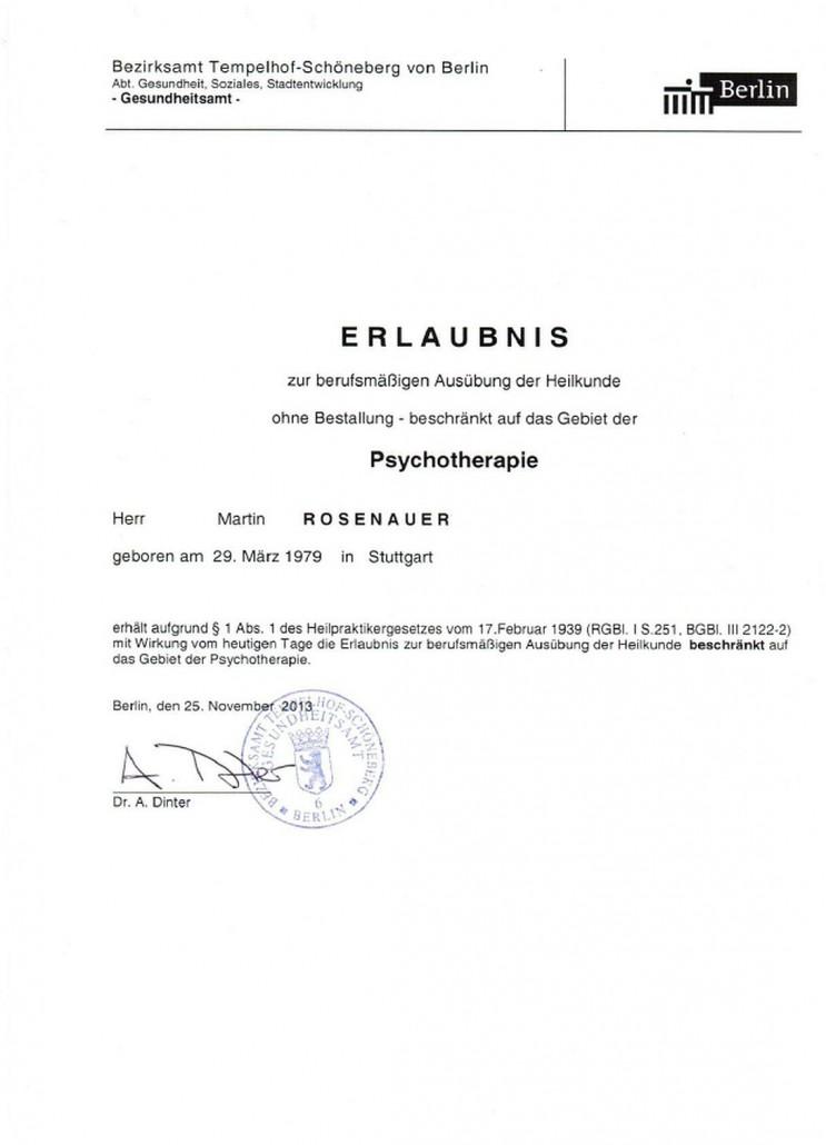 Erlaubnis zur Ausübung der Psychotherapie nach dem Heilpraktikergesetz