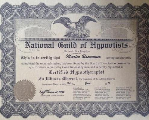 Mitglied der National Guild of Hypnotisists (USA)